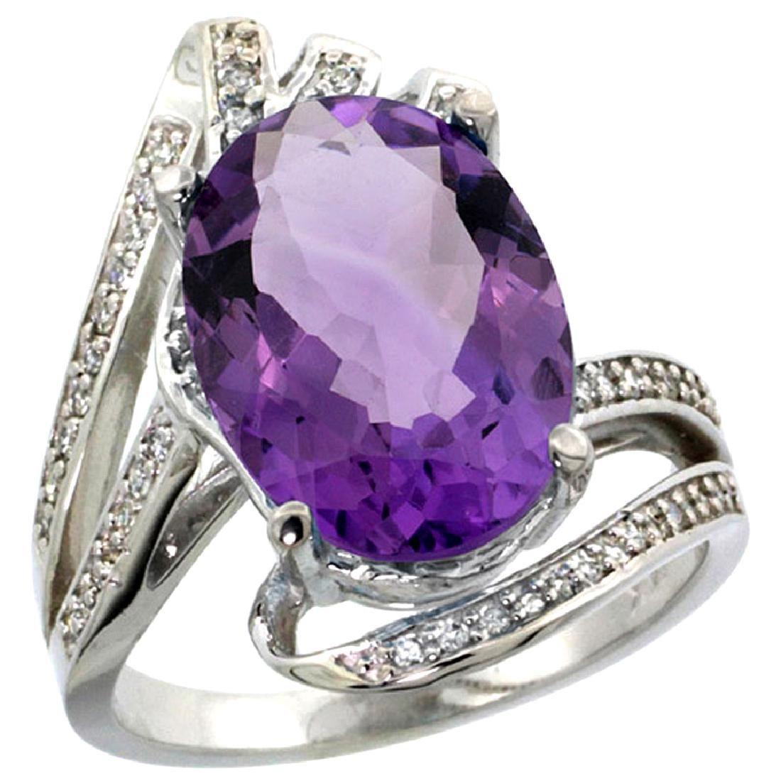 Natural 5.76 ctw amethyst & Diamond Engagement Ring 14K