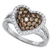 138 CTW Cognacbrown Color Diamond Heart Love Cluster