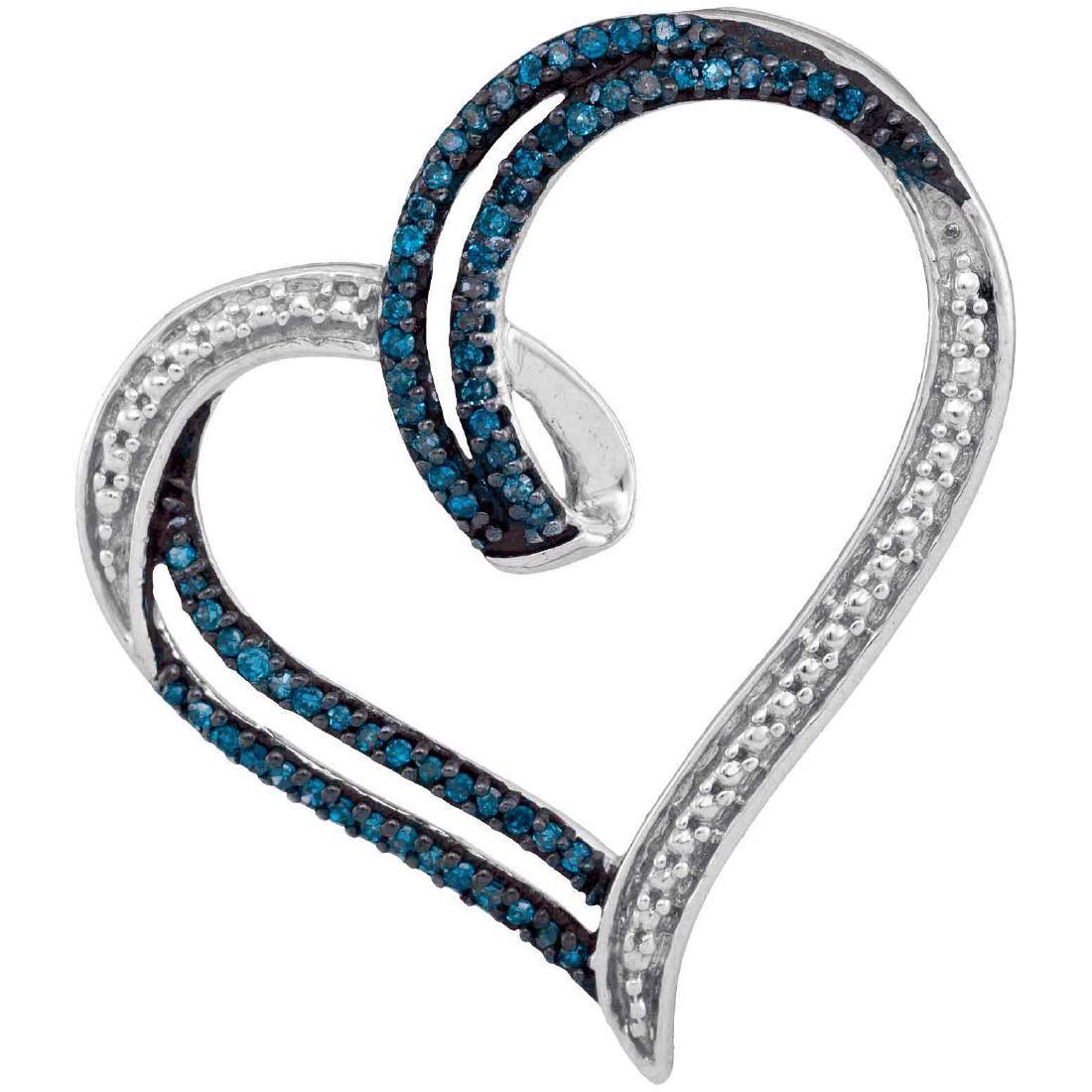0.22 CTW Blue Color Diamond Heart Outline Pendant 10KT
