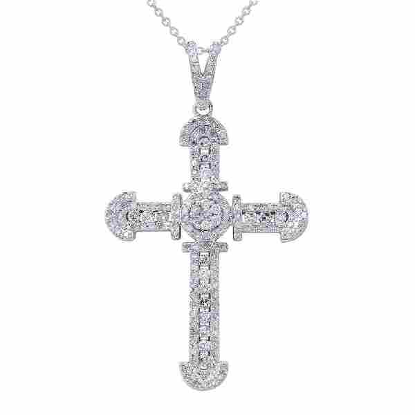 0.74 CTW Diamond Pendant Slider 14K White Gold -