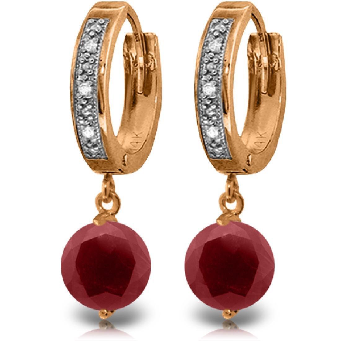 Genuine 4.03 ctw Ruby & Diamond Earrings Jewelry 14KT