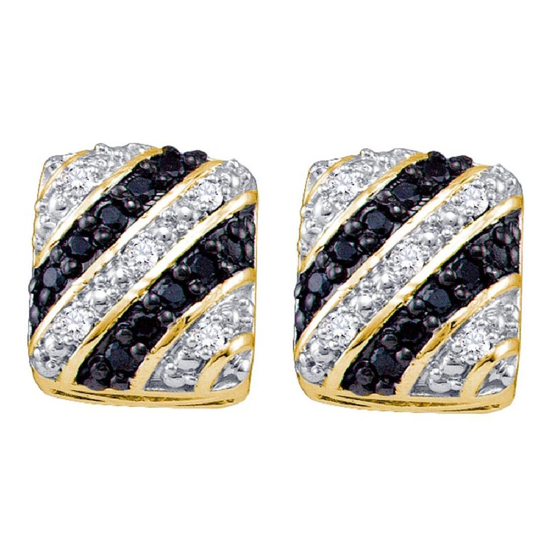 0.25 CTW Black Color Diamond Square Cluster Stud