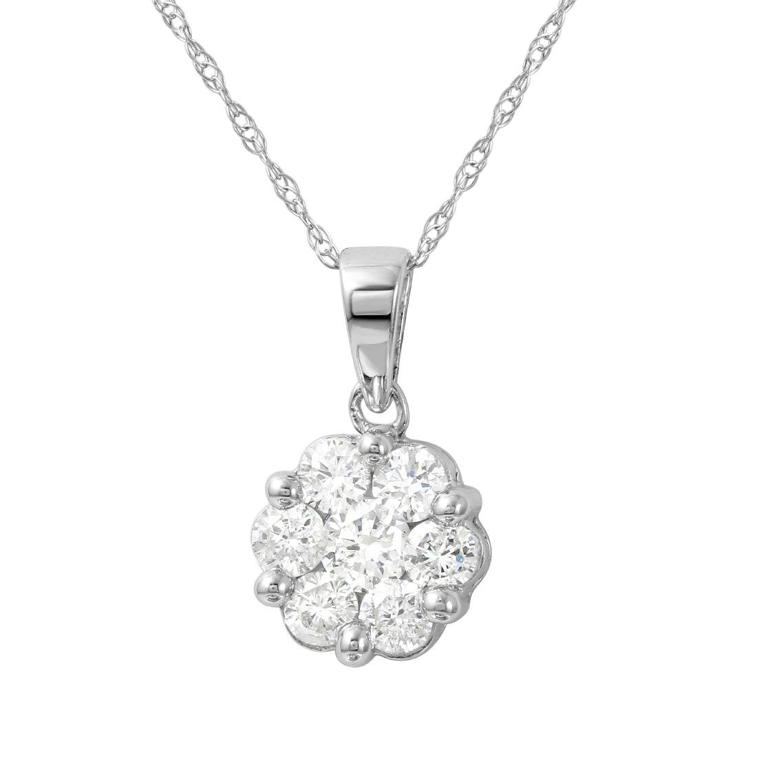 0.25 CTW Diamond Slider Necklace 14K White Gold -