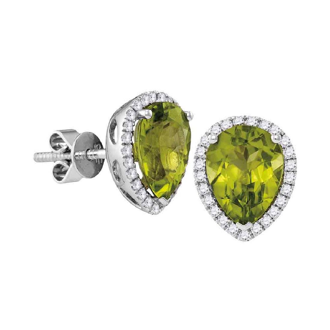 1.6 CTW Pear Peridot Solitaire Diamond Earrings 14KT