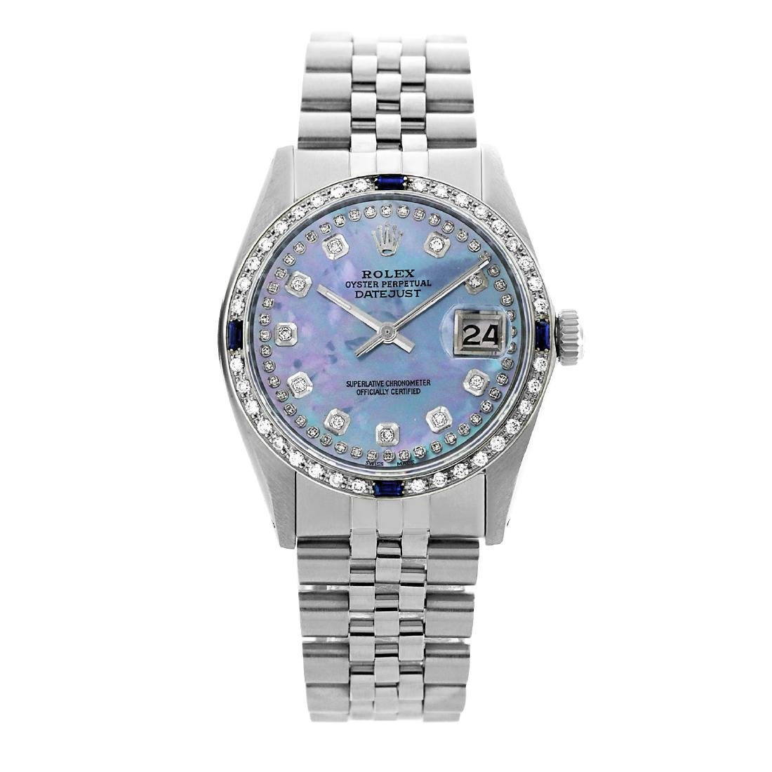 Rolex Pre-owned 36mm Mens String Blue MOP Stainless