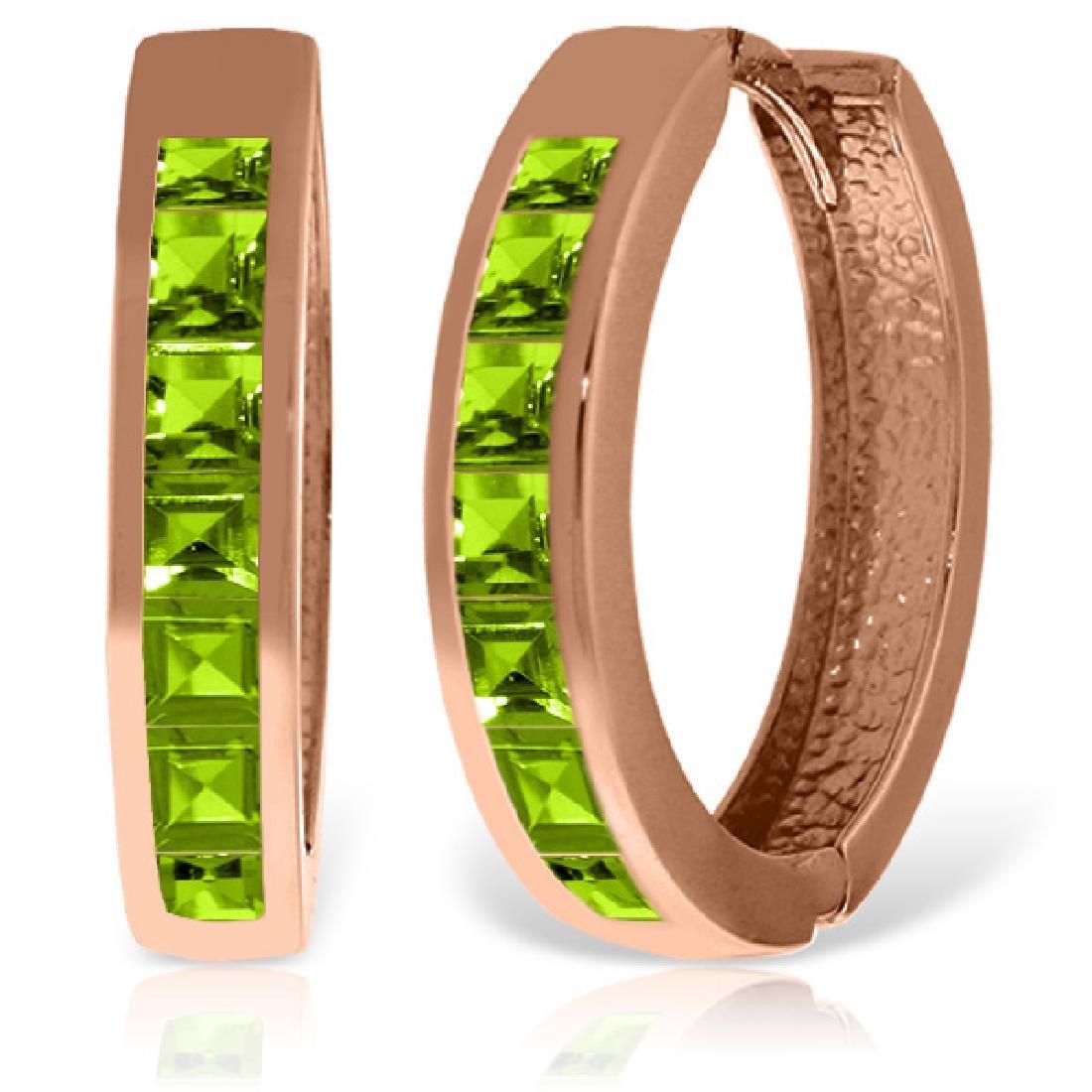 Genuine 1.40 ctw Peridot Earrings Jewelry 14KT Rose
