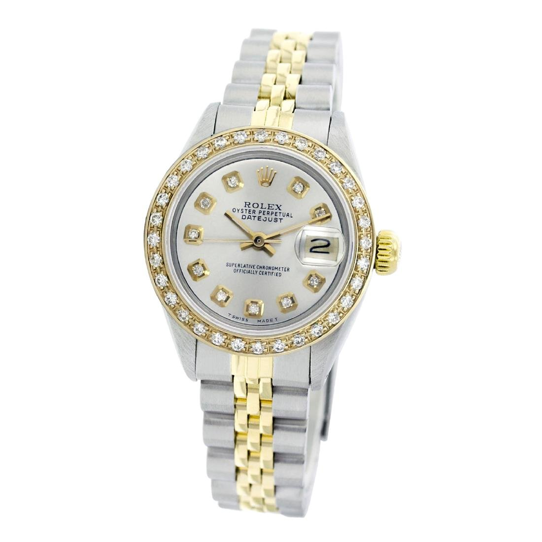 Rolex Pre-owned 26mm Womens Custom Silver Two Tone -
