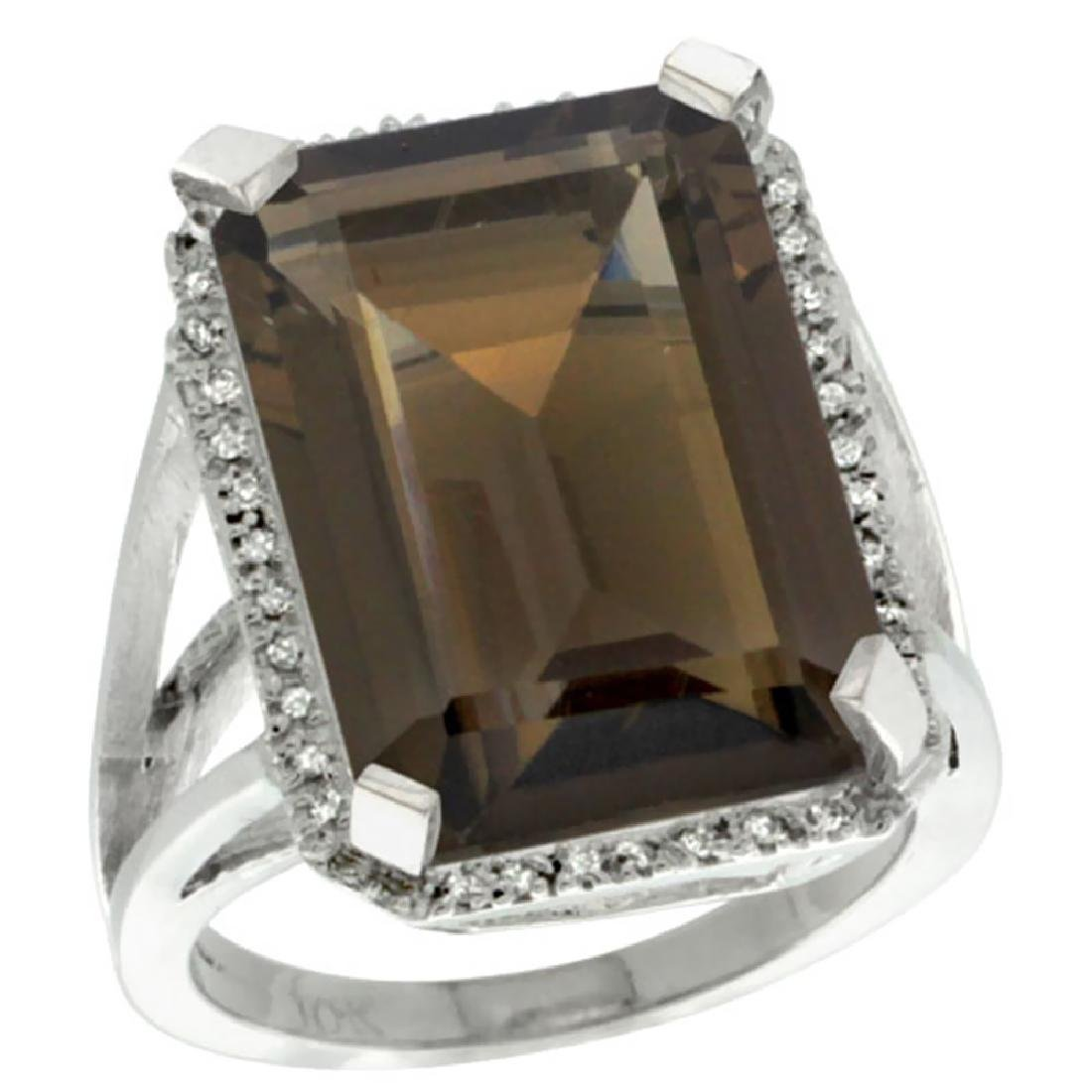 Natural 15.06 ctw Smoky-topaz & Diamond Engagement Ring