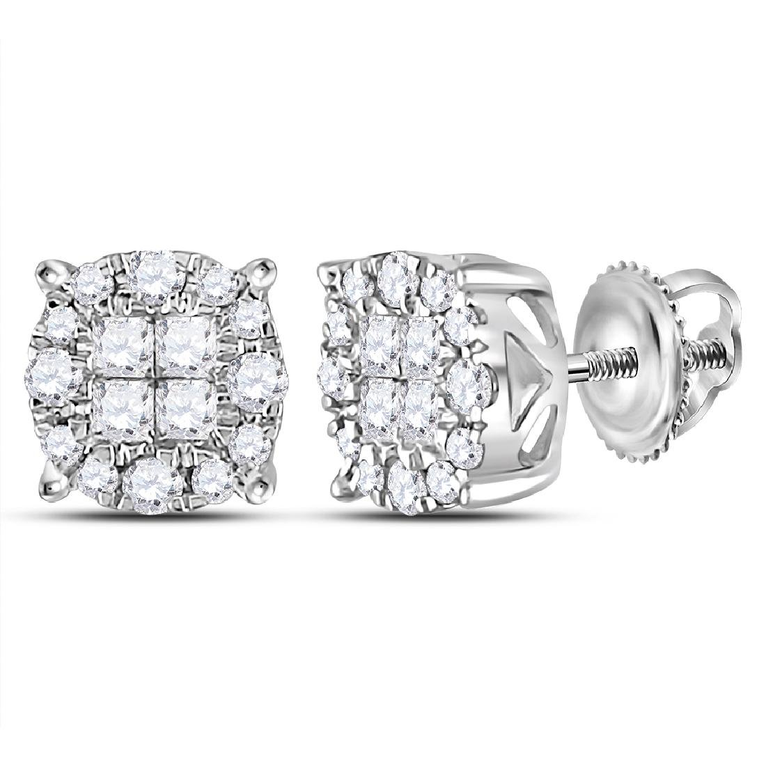 0.50 CTW Princess Diamond Soleil Cluster Earrings 14KT