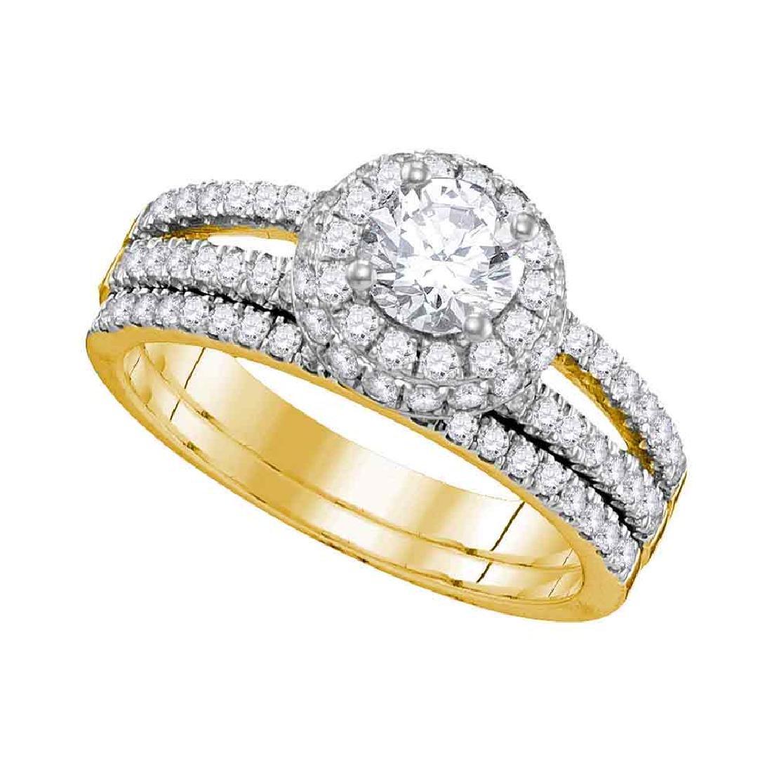 1.5 CTW Diamond Halo Bridal Engagement Ring 14KT Yellow