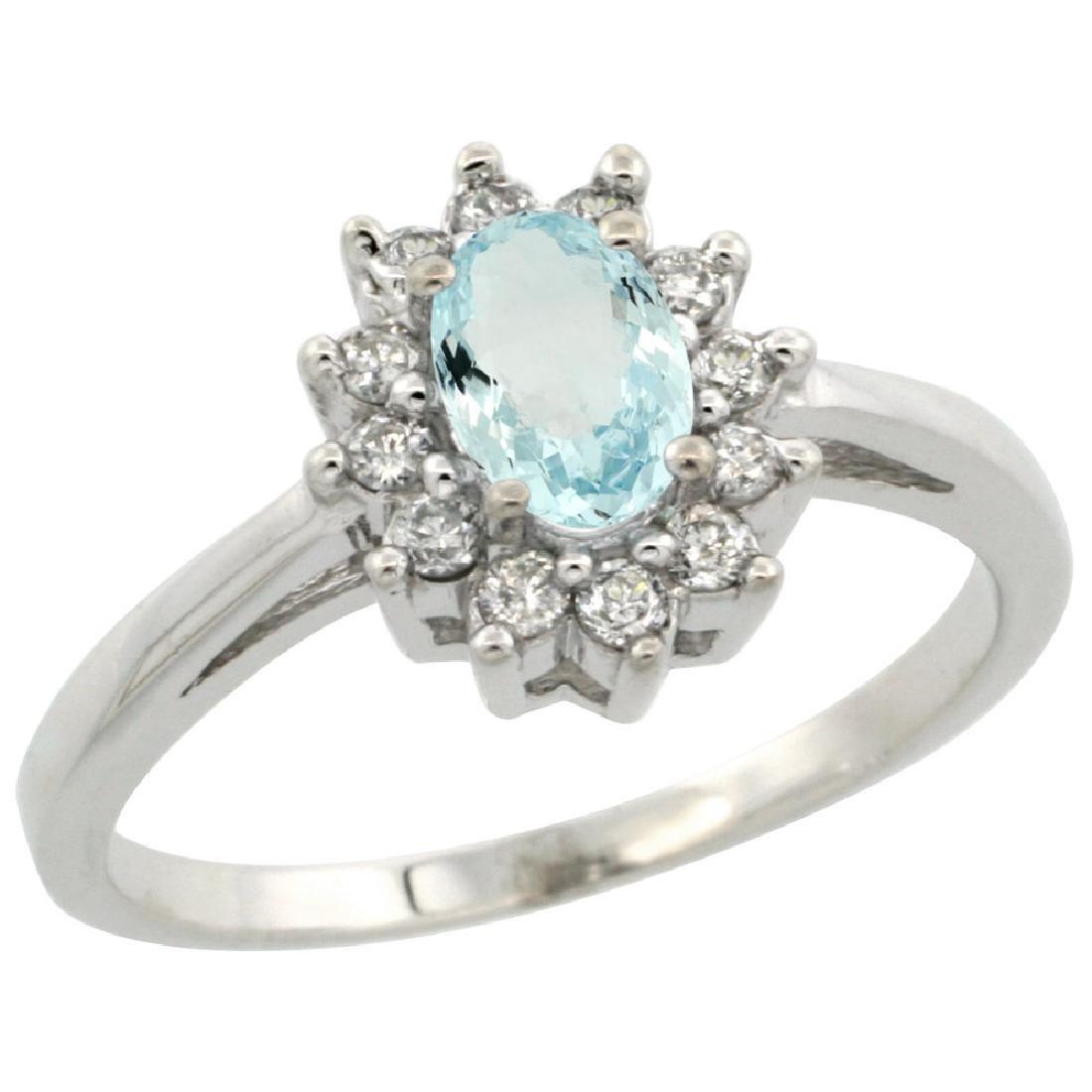Natural 0.67 ctw Aquamarine & Diamond Engagement Ring