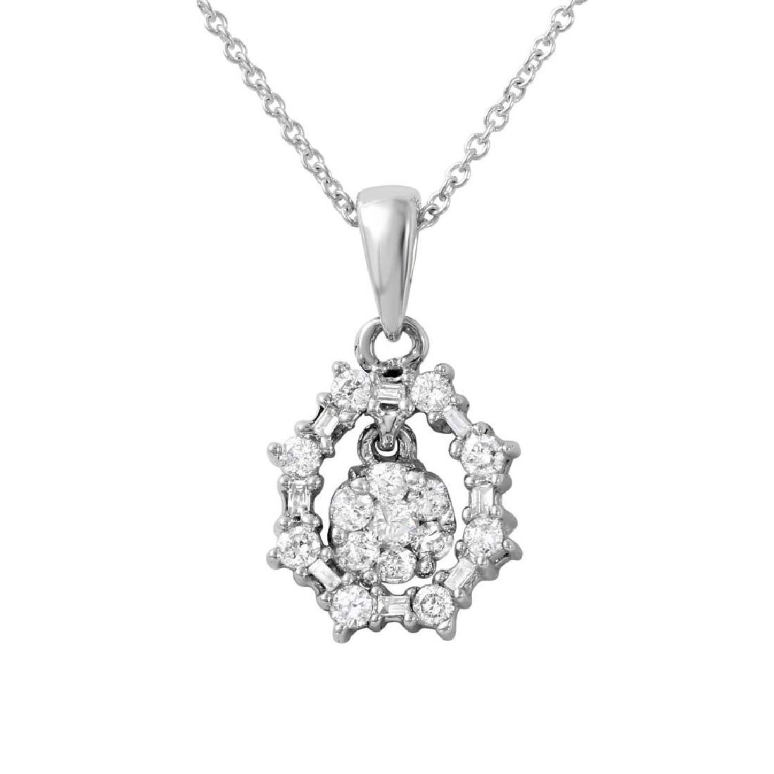 0.5 CT Diamond Slider Necklace Slider 14K White Gold -