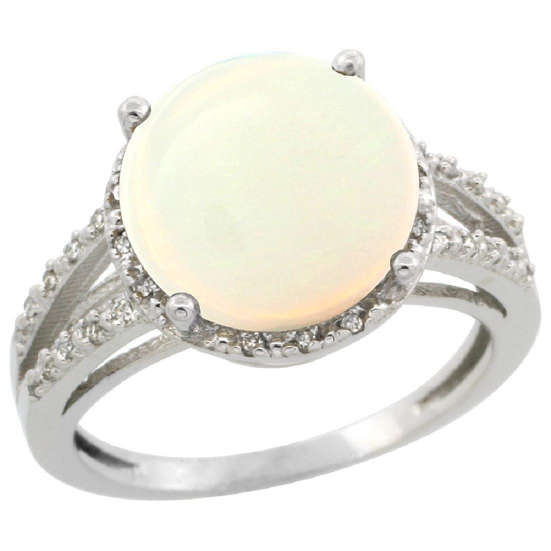 Natural 5.34 ctw Opal & Diamond Engagement Ring 14K