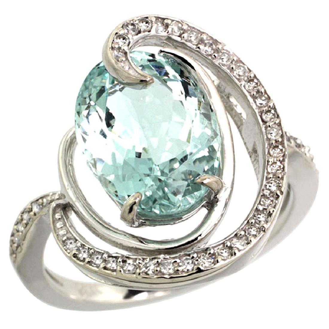 Natural 6.53 ctw aquamarine & Diamond Engagement Ring