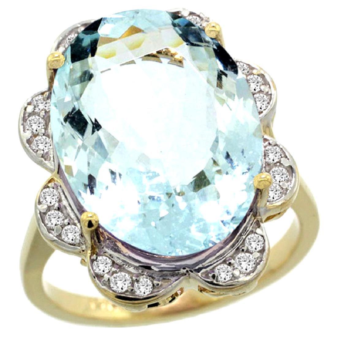 Natural 13.83 ctw aquamarine & Diamond Engagement Ring