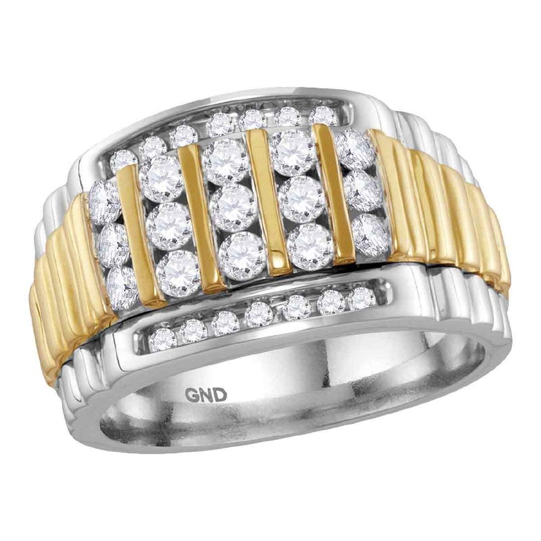 1 CTW Mens Diamond Cluster Ring 14KT Two-tone Gold -