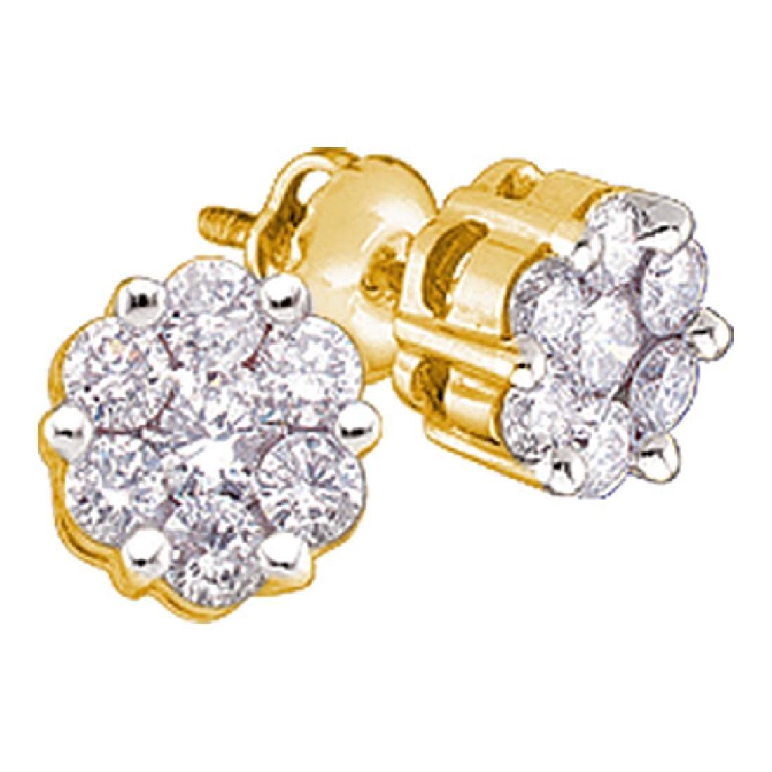 1 CTW Diamond Flower Screwback Stud Earrings 14KT