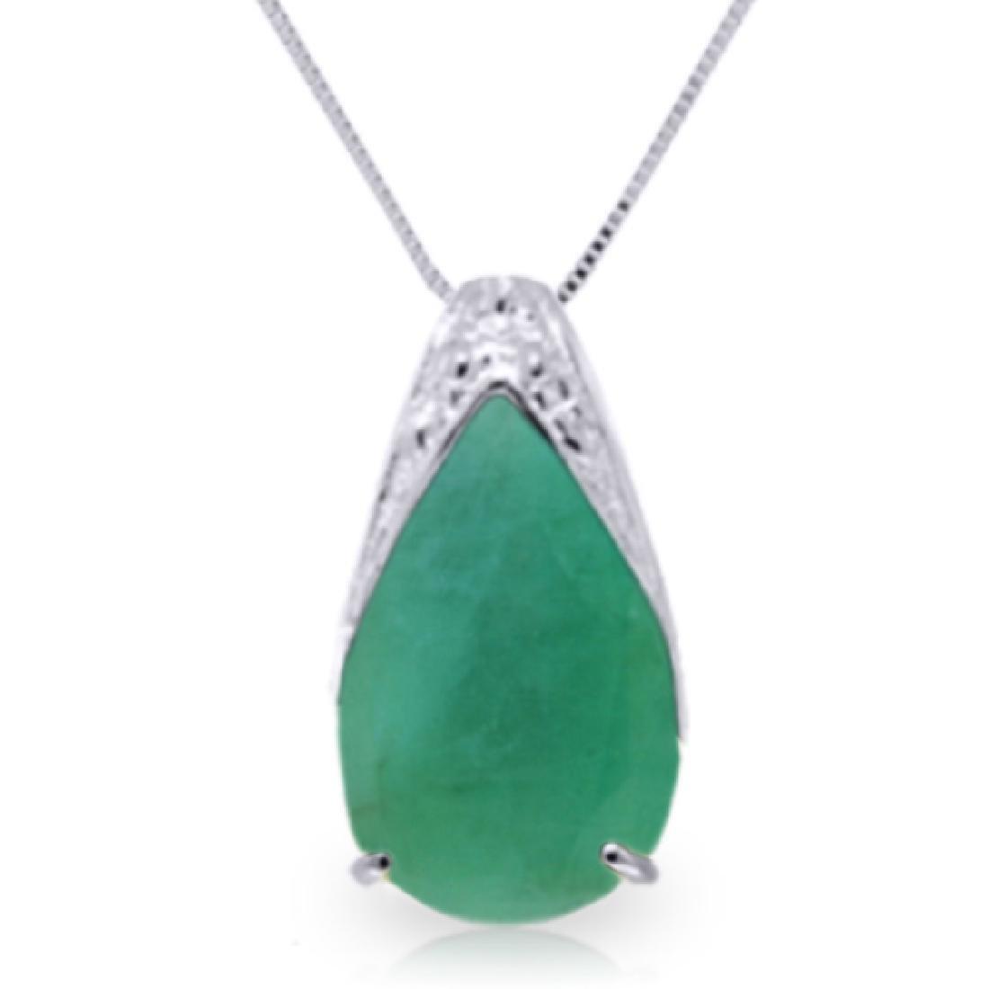 Genuine 3.5 ctw Emerald Necklace Jewelry 14KT White