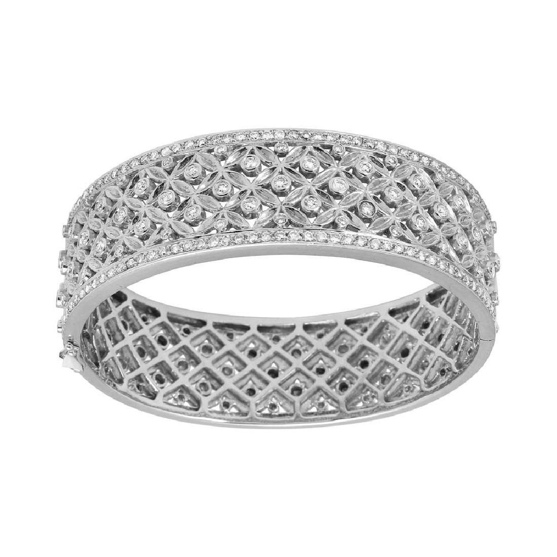 2.66 CTW Diamond Bangle Bracelet 14K White Gold -