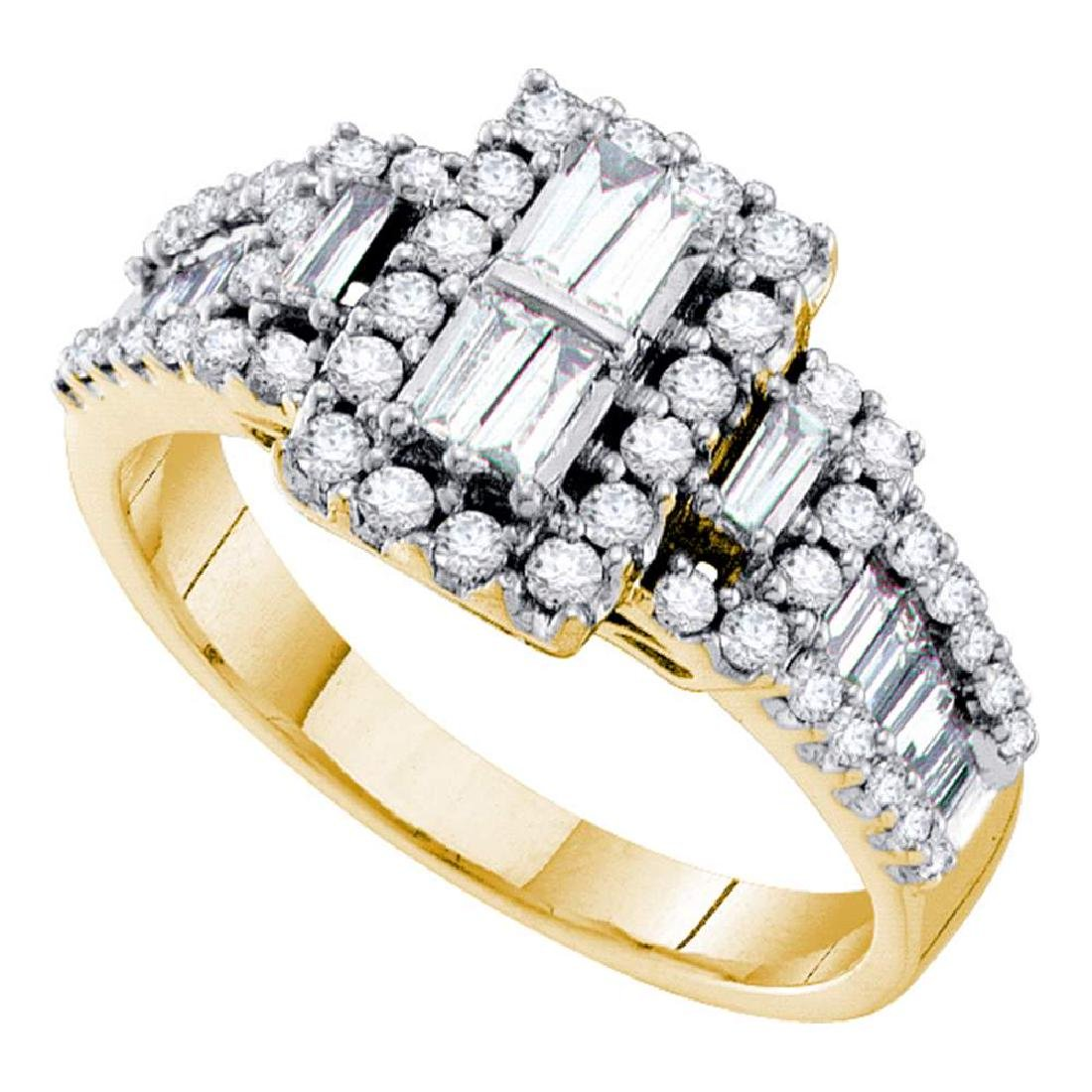 1 CTW Diamond Rectangle Cluster Ring 14KT Yellow Gold -