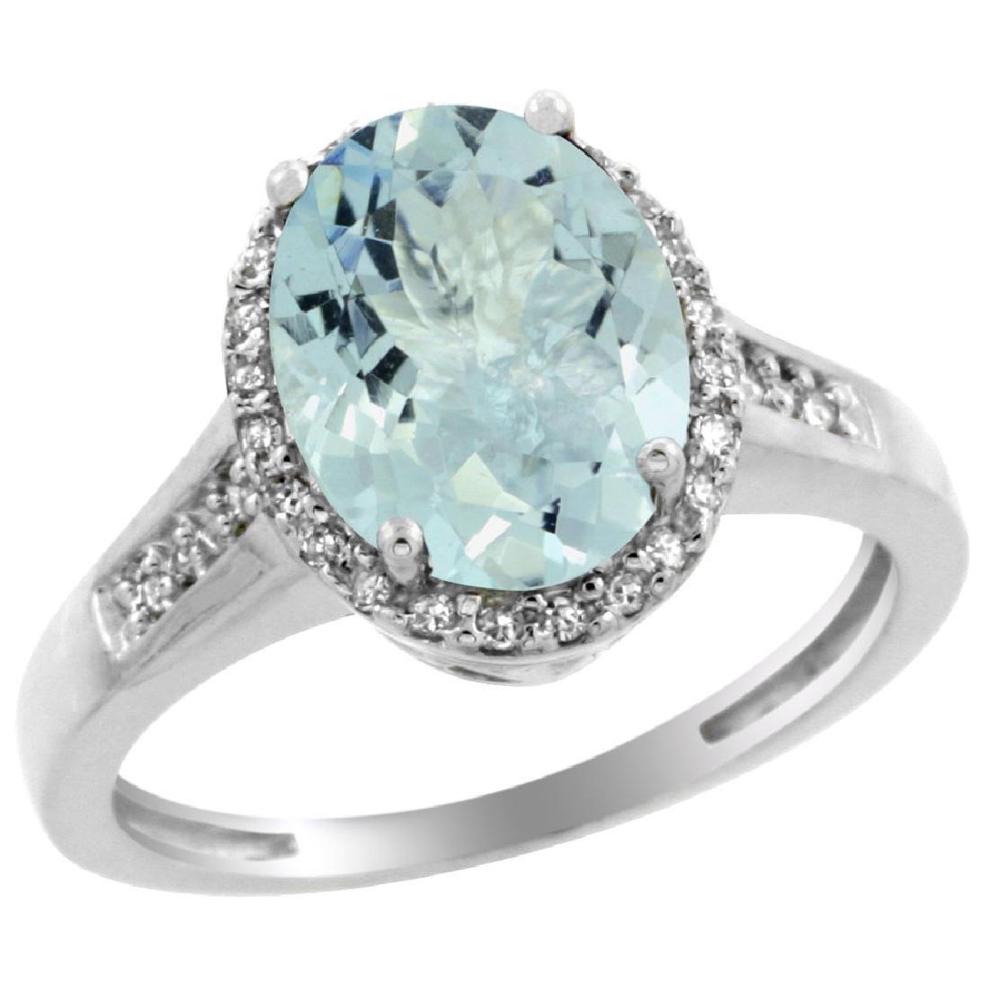 Natural 2.49 ctw Aquamarine & Diamond Engagement Ring