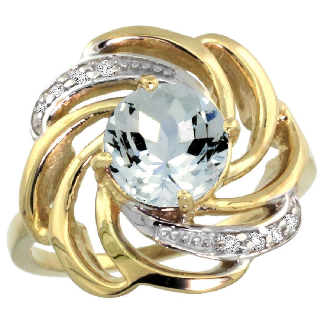 Natural 2.25 ctw aquamarine & Diamond Engagement Ring