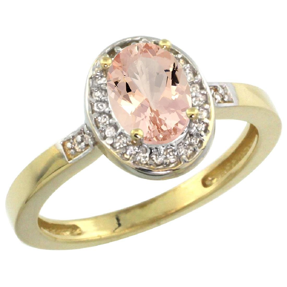 Natural 0.75 ctw Morganite & Diamond Engagement Ring