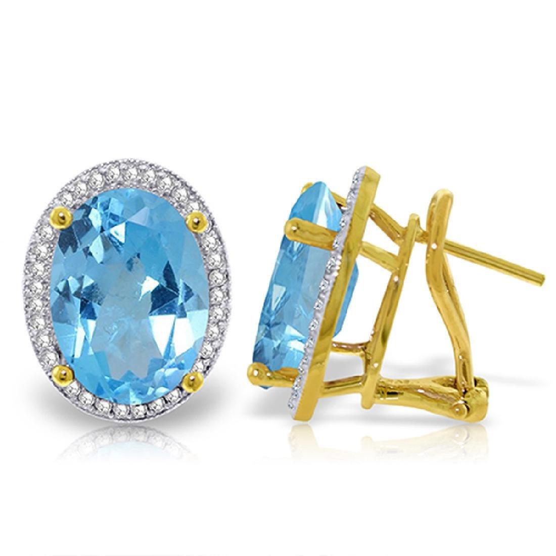 Genuine 15.16 ctw Blue Topaz & Diamond Earrings Jewelry