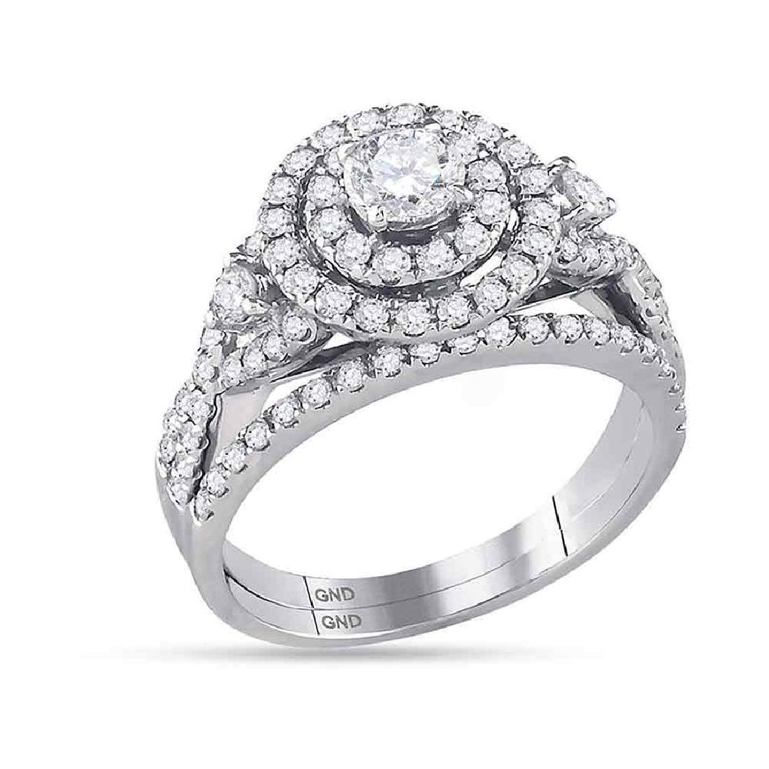 1.49 CTW Diamond Halo Bridal Engagement Ring 14KT White