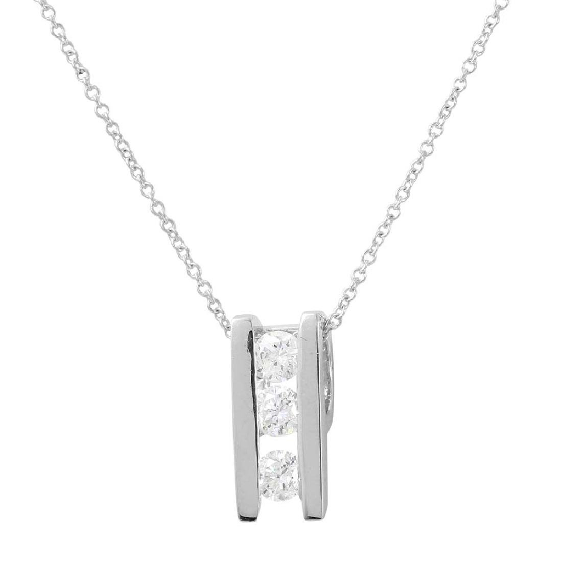 0.50 CTW Diamond Slider Necklace 14K White Gold -