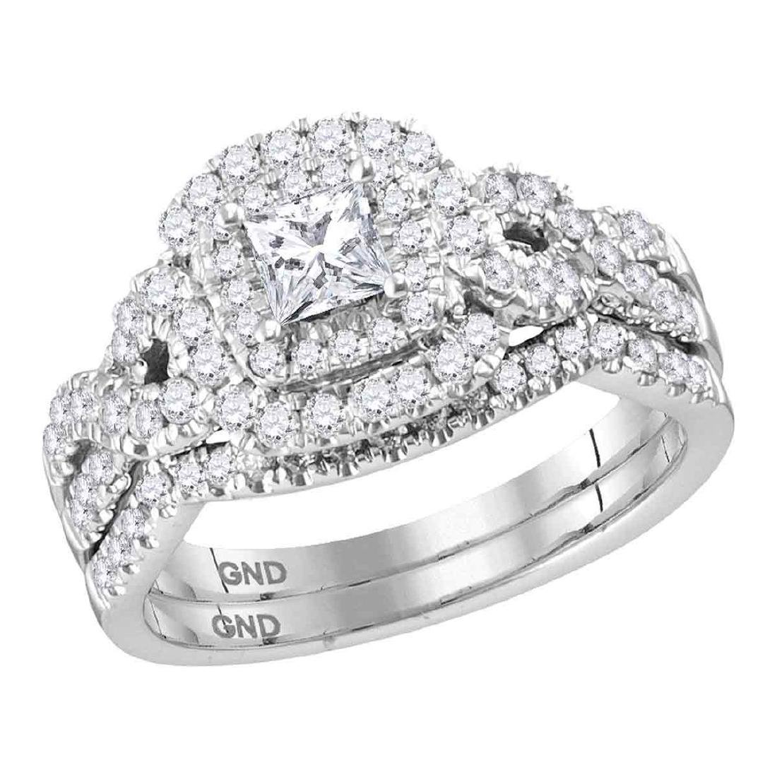 1 CTW Princess Diamond Halo Bridal Engagement Ring 14KT