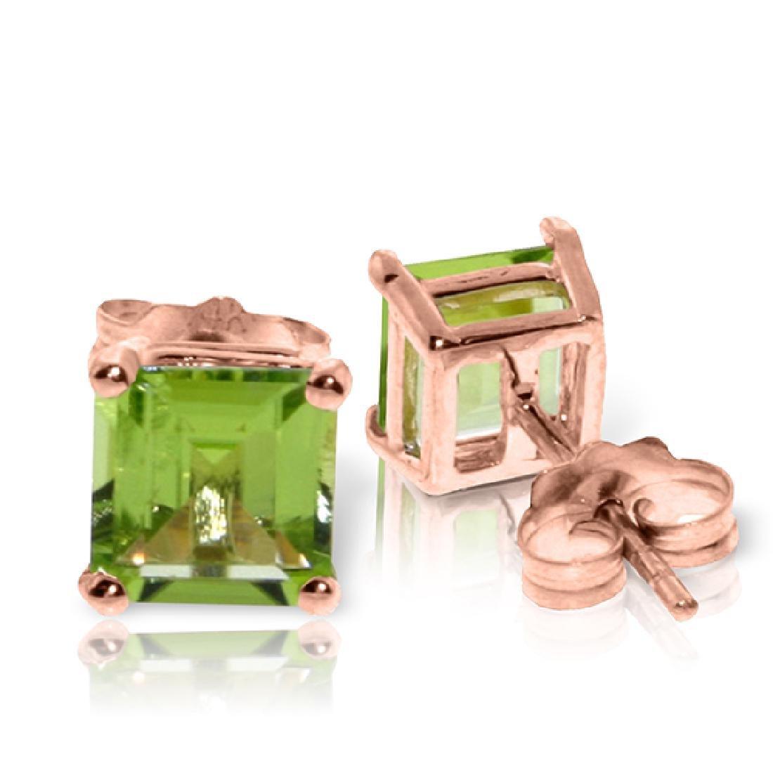 Genuine 1.75 ctw Peridot Earrings Jewelry 14KT Rose