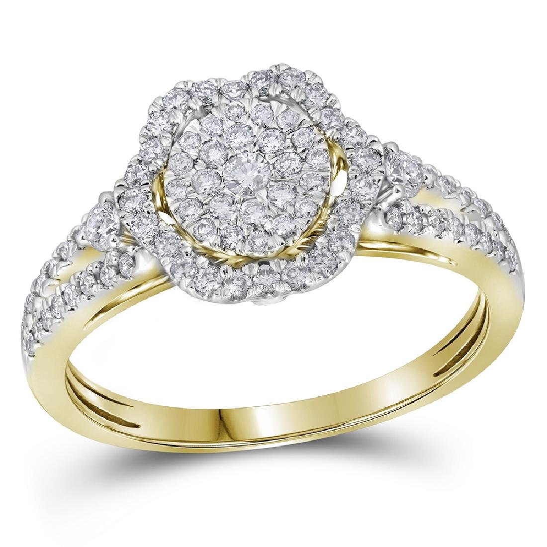 0.63 CTW Diamond Cluster Bridal Engagement Ring 14KT