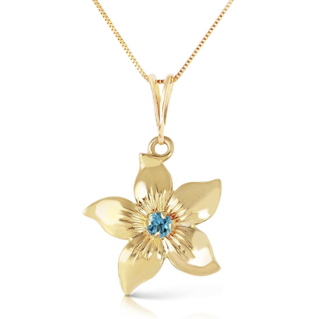 Genuine 0.10 CTW Blue Topaz Necklace Jewelry 14KT