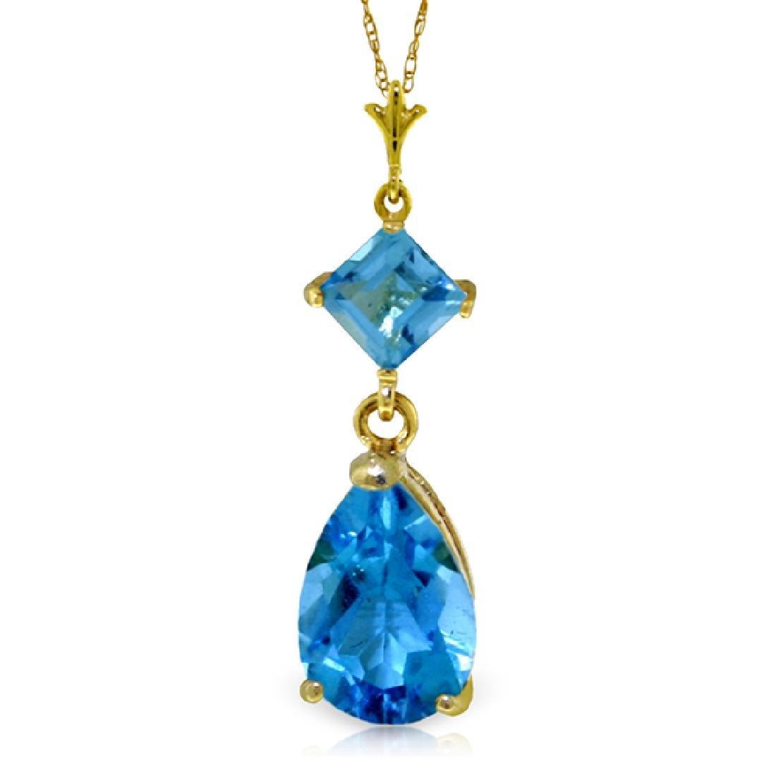 Genuine 2 ctw Blue Topaz Necklace Jewelry 14KT Yellow