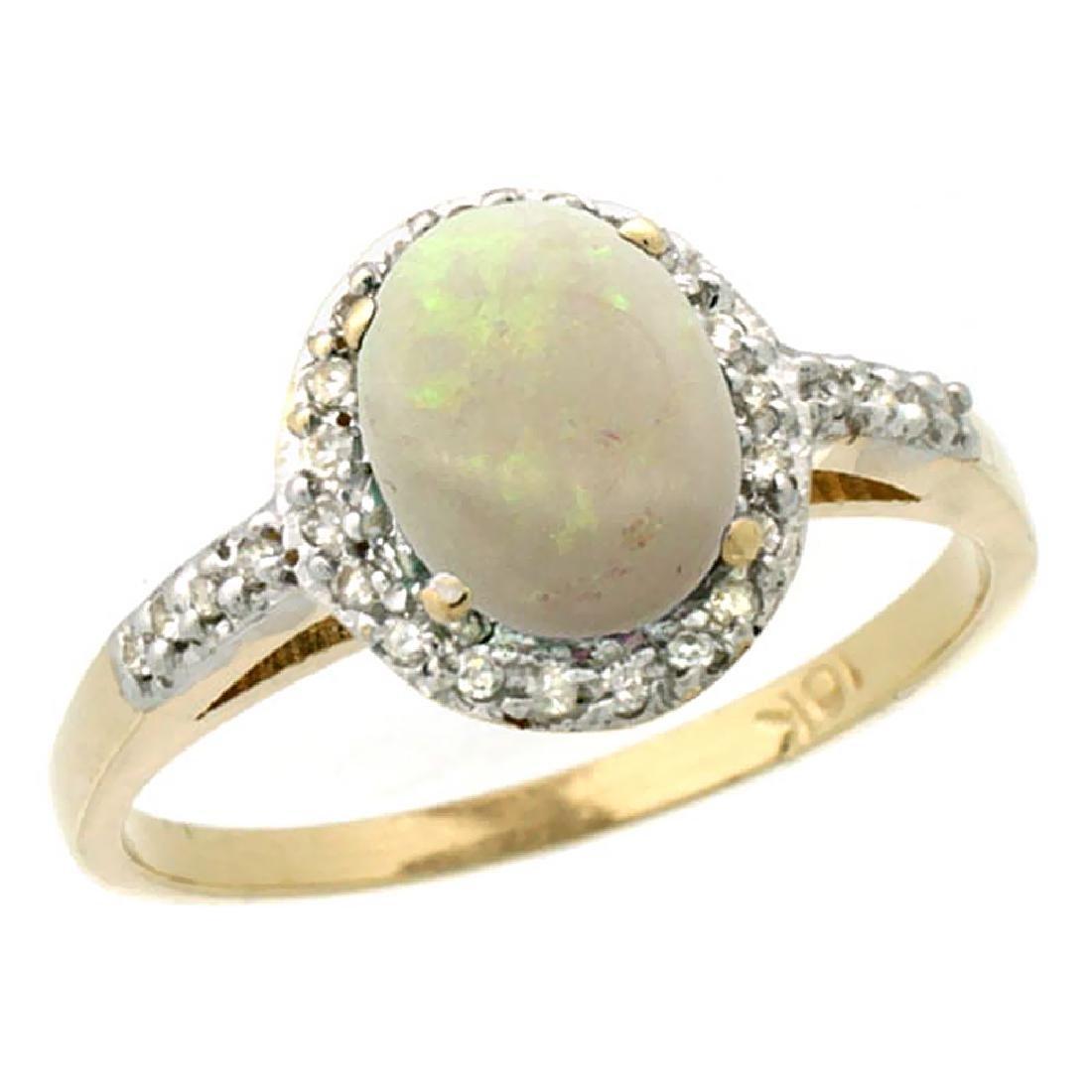 Natural 0.83 ctw Opal & Diamond Engagement Ring 14K