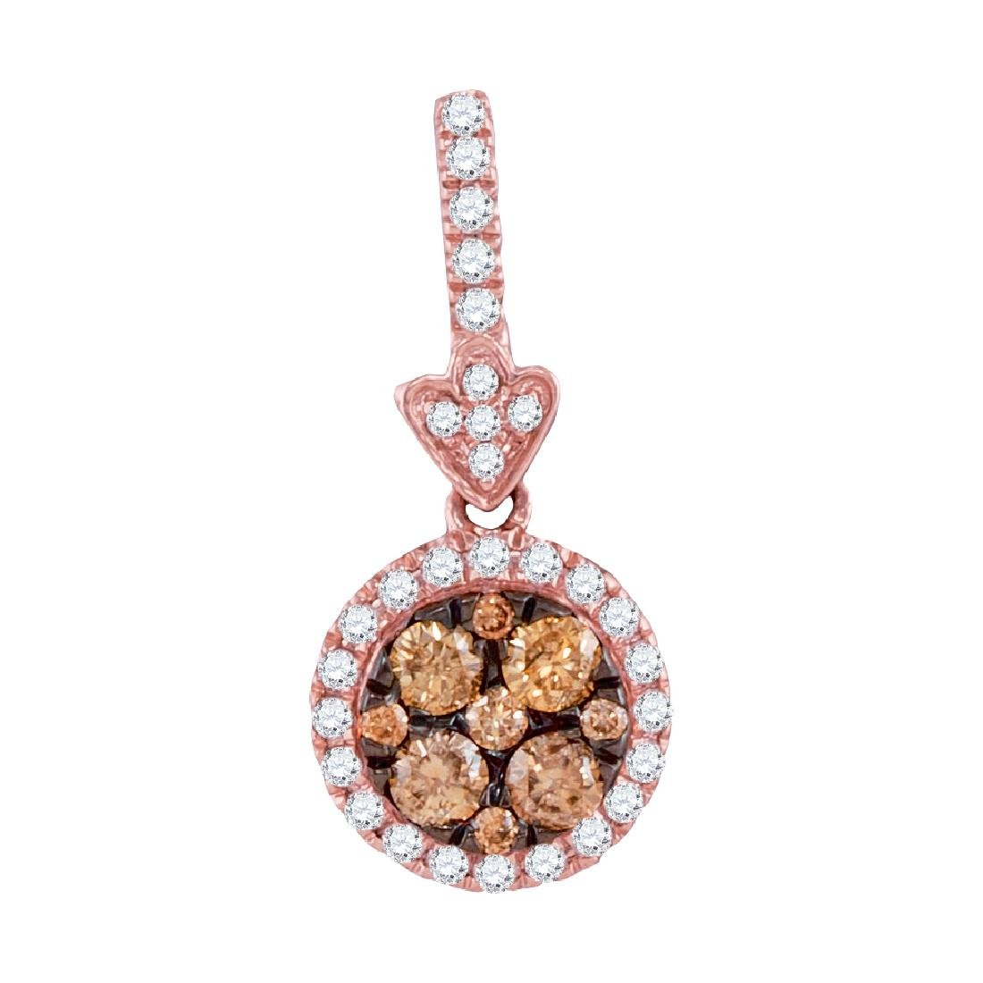 0.55 CTW Brown Diamond Circle Cluster Pendant 14KT Rose