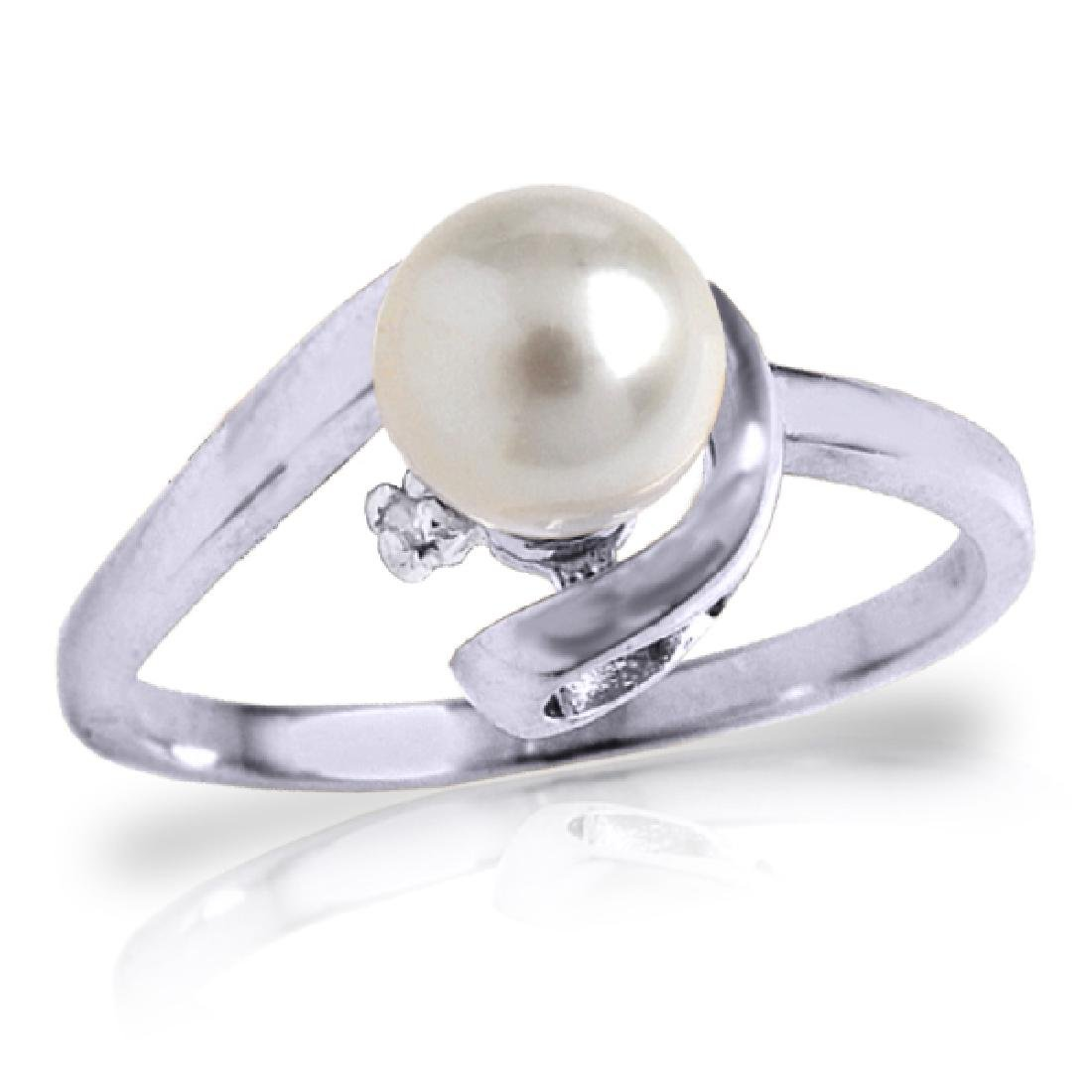 Genuine 1.01 ctw Pearl & Diamond Ring Jewelry 14KT