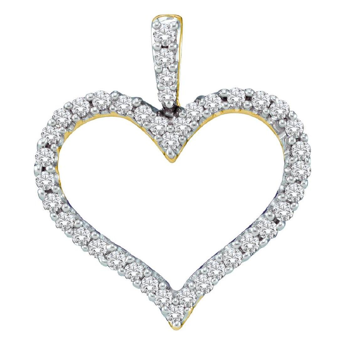 0.45 CTW Diamond Classic Heart Outline Pendant 14KT