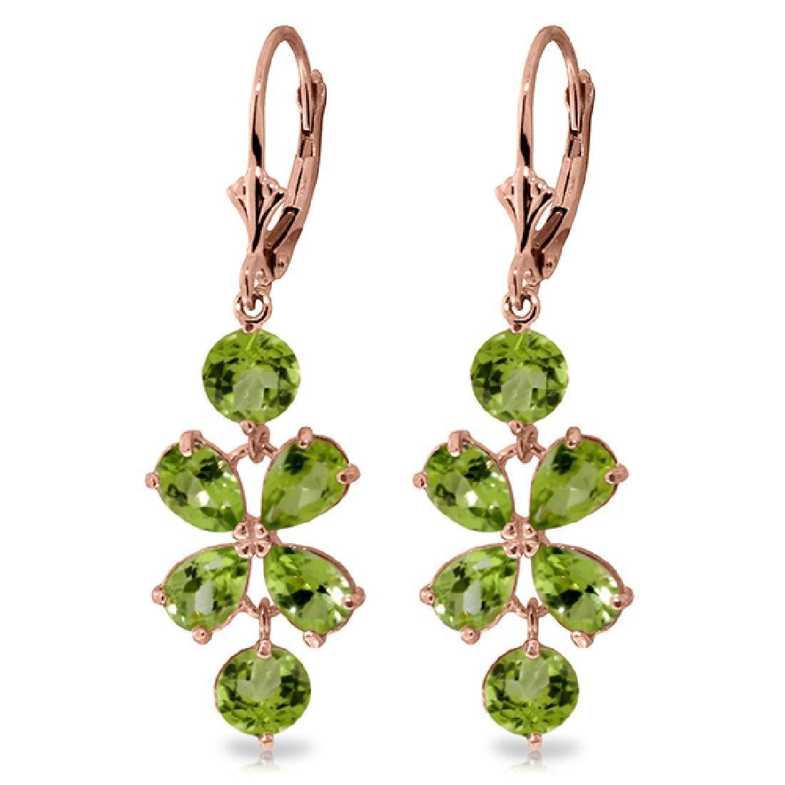Genuine 5.32 ctw Peridot Earrings Jewelry 14KT Rose