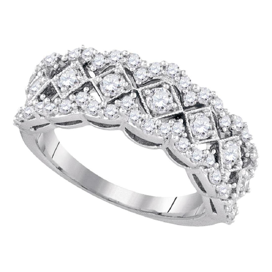 1.01 CTW Diamond Diagonal Square Ring 14KT White Gold -
