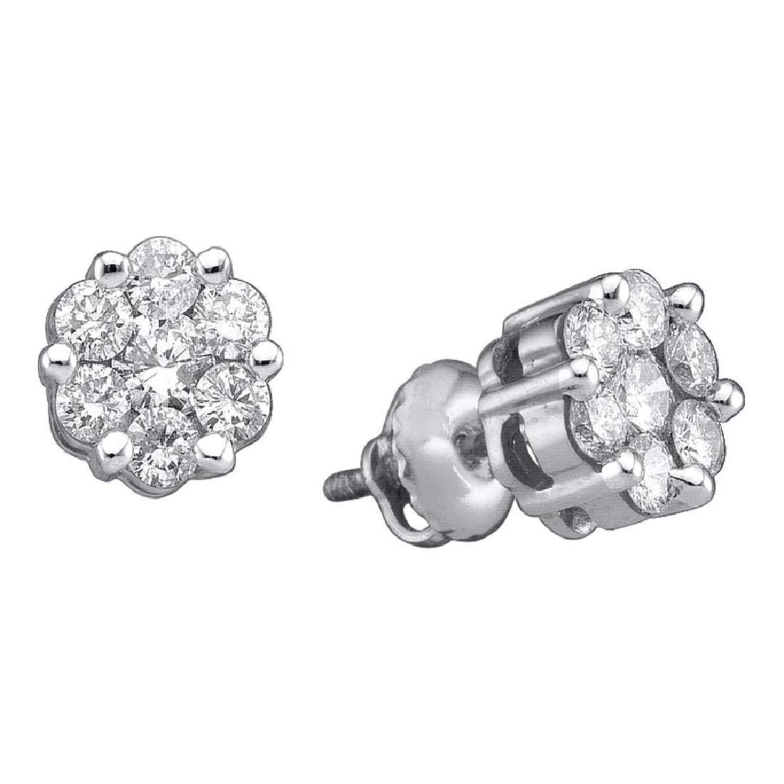 1 CTW Diamond Flower Screwback Stud Earrings 14k White