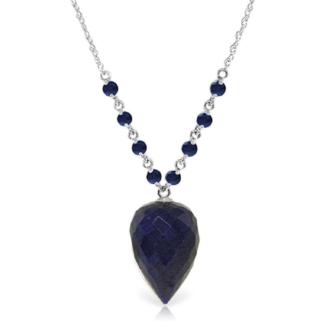 Genuine 14 ctw Sapphire Necklace Jewelry 14KT White