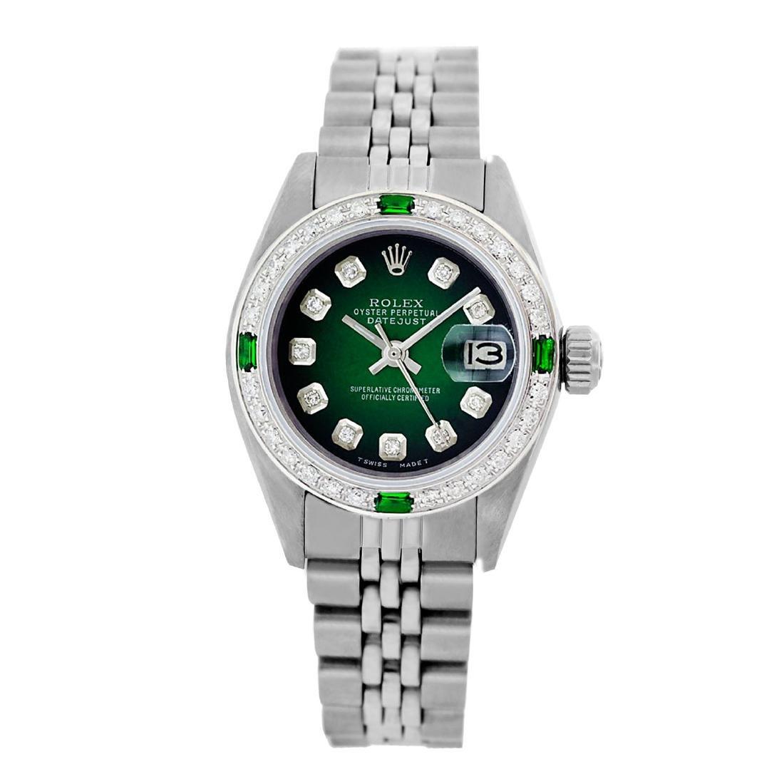 Rolex Pre-owned 26mm Womens Custom Green Vignette
