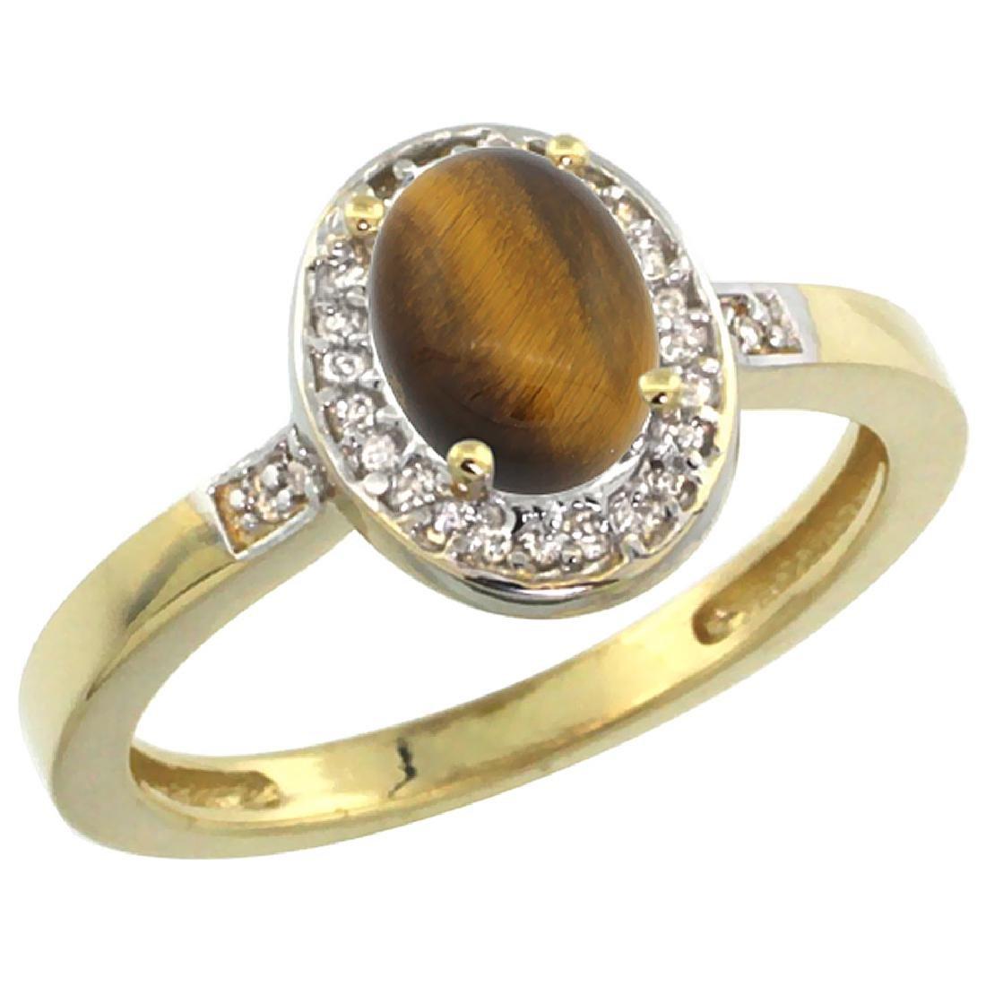 Natural 0.83 ctw Tiger-eye & Diamond Engagement Ring
