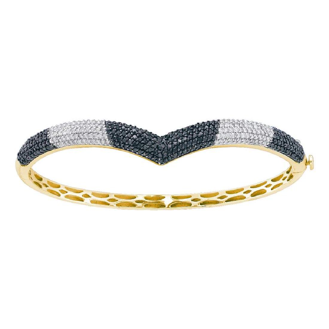 1.8 CTW Black Color Diamond Bangle Bracelet 14KT Yellow