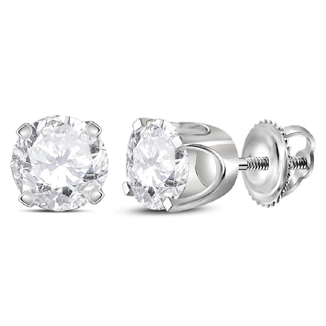 1.03 CTW Diamond Solitaire Stud Earrings 14KT White
