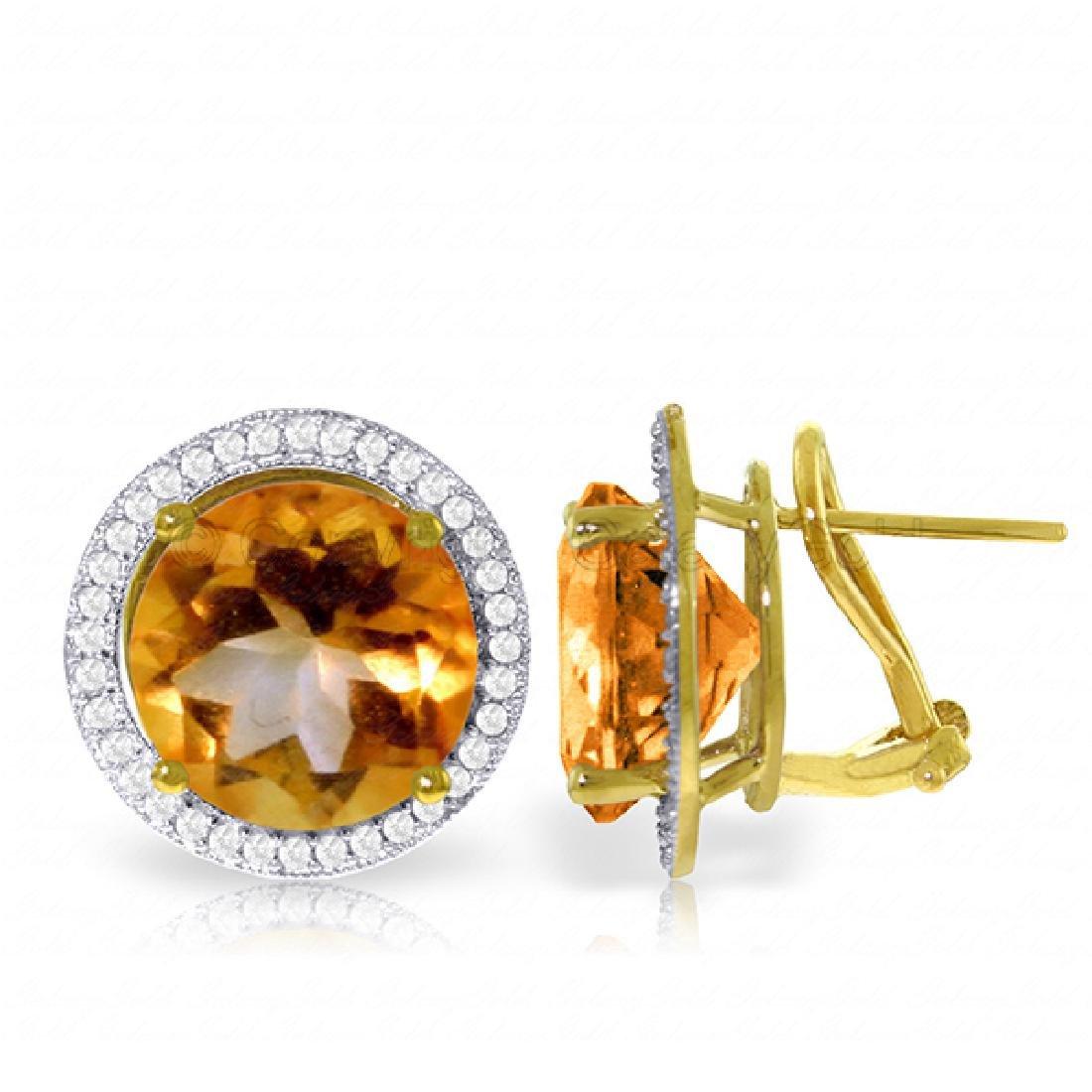 Genuine 12.4 ctw Citrine & Diamond Earrings Jewelry