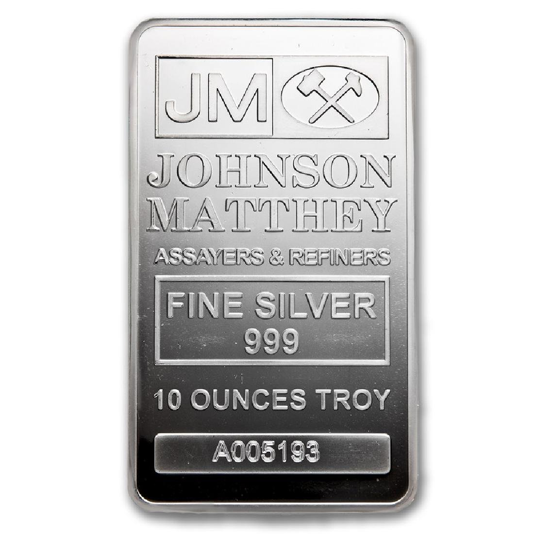 Genuine 10 oz 0.999 Fine Silver Bar - Johnson Matthey
