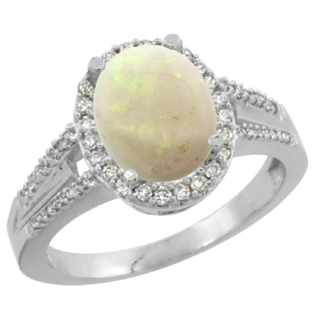 Natural 1.73 ctw opal & Diamond Engagement Ring 14K